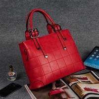 elegante bolso azul al por mayor-MONNET CAUTHY Bags Concise Elegant Office Ladies Casual Totes Color sólido Navy Blue Wine Red Black Gris Señora Crossbody Handbags