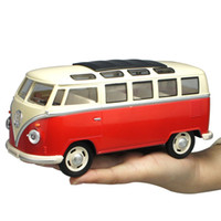 Wholesale model bus toys - 1:24 VW T1 Bus Classic Van Car Alloy Model Pull Back Sound Light Collection Toy