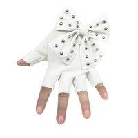 guantes de remache de cuero al por mayor-200PAIRS / LOT Big Bow Rivet Guantes con medio dedo PU cuero Balck Sexy Dance Mitten Gloves