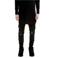 jeans super slim fit hommes achat en gros de-New Black Ripped Jeans Hommes Avec Trous Denim Super Maigre Célèbre Designer Marque Slim Fit Jean Pantalon Rayé Biker Jeans