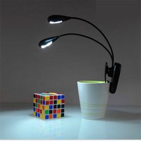 Wholesale Reading Christmas Lights - Black Clip on 2 Dual Arms 2LED Flexible Reading lamp Book Light Music Stand ebook Night light Clip-On Super bright LED camping lamp