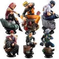 anime estatuilla pvc al por mayor-6 unids / set Naruto Figuras de Acción Muñecas de Ajedrez Nuevo Pvc Anime Naruto Sasuke Gaara Figuras Para la Decoración Colección de Juguetes de Regalo
