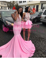 Wholesale maxi dresses for sale - 2018 New Modest Maxi Style Prom Dresses V Neck Mermaid White Appliques Hot Sale Formal Evening Dresses For 2k 17 18