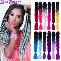 três cores de cabelo ombre venda por atacado-Shesbeauty Extensões de Cabelo Trança Sintética 24 inch 100g Ombre Dois / Três Tom de Cor 60 Cores Opcionais Barato Cabelo Trança
