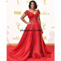 prêmios emmy venda por atacado-Laço vermelho celebridade vestidos mangas curtas Niecy Nash Red Carpet vestidos 67th Emmy Awards Sexy V Neck vestidos de noite de organza Long