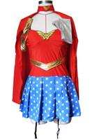 wonder woman costume toptan satış-Süper Kız Wonder Woman Fantezi Elbise Kadınlar Süper Kahraman Superwoman Cadılar Bayramı Kostüm