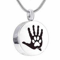 Wholesale paw print necklaces for sale - Group buy Fashion jewelry hand paw print Cremation Jewelry round Heart My Friend Urn Pendant Memorial Urn Necklace