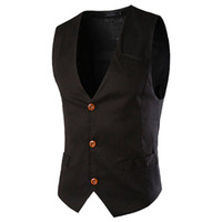 business prints 2018 - New Formal Men Waistcoat Mens Jacket Sleeveless Spring Business Vest Suit Male Fashion Tops 070