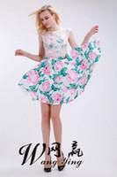 neues muster-partykleid großhandel-Homecoming Dresses 2018 New Zweiteiler Lace Crop Top Pink und Grün Muster Kurzer Rock Party Kleider für Mädchen