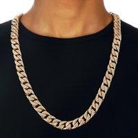collar de oro de 14mm. al por mayor-Rhinestone COMPLETO 18k Collar de Cadena de Oro Para Hombre de Los Hombres Cubanos de Miami Collar Punk 14mm Collar Largo de Oro Joyería Llena