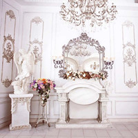 Wholesale chandelier wedding dress for sale - Group buy Luxury Wedding Background for Photo Studio Printed Statue Dressing Mirror Chandelier White Wall Indoor Photography Backdrops