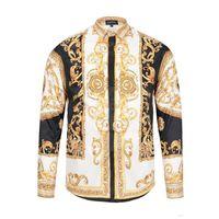 Wholesale skull shirt dress - Drop Shipping 2018 Autumn winter Harajuku Medusa gold chain print Casual shirts Fashion Retro floral Shirts Men long sleeve Casual shirts