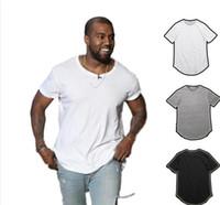 ingrosso mens bianchi maglietta vuote-Mens T Shirt Kanye West Estesa Curva Orlo Lungo Tops Tees Hip Hop Urban Blank Justin Bieber OL Solido Bianco Nero Alta Qualità