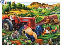 Wholesale canvas farm - Diy diamond painting cross stitch kit rhinestone mosaic home decor gift farm cock field full round&square diamond 5D embroidery yx2279