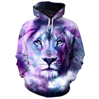 harajuku galaxy hoodies al por mayor-Cloudstyle Galaxy Lion 3D Animal Print Hoodies Hombres Mujeres de manga larga Streetwear Harajuku Chándales Pullovers Top Plus Size 5XL