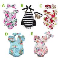 kızlar yaz olanlar toptan satış-Yenidoğan bebek kız giysileri yaz çiçek romper tulum onesies + kafa 2 adet çocuk giyim butik kıyafetler bebekler kız yürüyor 0-24 M