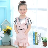 Wholesale T Shirt Ruffle Skirt - Girls Shirt Dress Suit Cat Design Cartoon Short Sleeve Striped T-shirt Cat Vest Dress Ruffled Skirt 3-7T