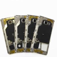 note cache-objectif achat en gros de-Nouveau châssis moyen châssis mi-lunette châssis de boîtier en métal avec lentille arrière de couverture de caméra et bouton latéral + NFC pour Samsung Note5 Note 5 N920 N920F