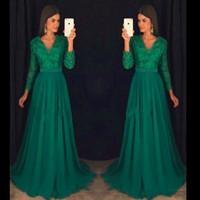 yeşil v yaka balo elbisesi toptan satış-Mütevazı Boncuk Yeşil V Yaka Abiye Uzun Kollu Kristal Dedi Mhamad Vestidos De Dresses Parti Elbise Balo Örgün Pageant Ünlü Abiye