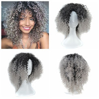 Wholesale synthetic kinky curly hair weave resale online - Z F Ombre Granny Grey Brown Blonde Afro Kinky Curly Weave Hair Synthetic Wigs Short Wigs For Black Women