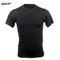 camisas tácticas de secado rápido al por mayor-WZJP Tactical Summer Mens Training Stretch T-shirt Tees Camisas de secado rápido de manga corta