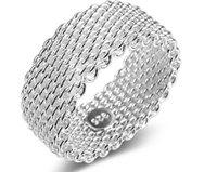 neue mesh-schmuck großhandel-2018 neue europäische und amerikanische heißer Ring Mode Silber überzogene Ring Mesh Weben Silber Schmuck Großhandel