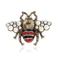 perlenringe großhandel-OL Mode Frauen Schmuck Vergoldet Strass Perle Biene Ring für Mädchen Frauen für Party Ring Schönes Geschenk