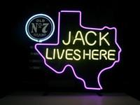 signos de cerveza de texas al por mayor-Neon FIRMA AQUÍ TEXAS ANTIGUO # 7 WHISKY REAL NEON LIGHT BEER LUGAR DE BARRA para JACK DANIELS LIVES bar beer club PUB en la sala de la pared