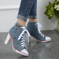 Wholesale Blue Jeans Heels - Sell Hot Jeans Casual Shoes Fashion Rivet Student Shoes 2018 Classic Brand High Heels Black Patent Women Dress Wedding Sandals Shoes