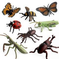 Wholesale farm figures for sale - Group buy Farm landscape simulation Insect Models PVC grasshopper Mantis butterfly ladybug stag beetle Action Figure Insects Toys for Kids C5370