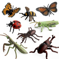 brinquedos insetos para crianças venda por atacado-Fazenda paisagem simulação Insect Modelos PVC gafanhoto Mantis borboleta joaninha besouro Veado Figura de Ação Insetos Brinquedos para Crianças C5370