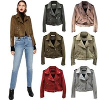 Wholesale leather jacket women for sale - Women Suede Leather Jackets Short Motorcycle Jacket Basic Street Women Short PU Leather Jackets Outwear Colors OOA4380