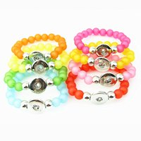 Wholesale candy charms for bracelets - High Quality 8pcs lot Candy Color Snap Buttons Bracelet Fit 18MM Snap Button Jewelry For DIY Pendant Necklace With Girl Gift