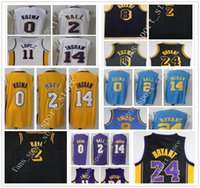 Wholesale Brook S - 2018 New Black City Edition #2 Lonzo Ball Jersey White Purple Yellow #0 Kyle Kuzma Blue MPLS. #14 Brandon Ingram Brook Lopez Jersey