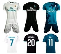 Wholesale Sports Jersey Kits - 17 18 Real Madrids Home White Soccer Sets RONALDO away black football kits BALE MODRIC soccer jerseys 2017 2018 sports wear football uniform