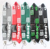 Wholesale jeep car badges - The charisma of a car JEEP Lanyard Keychain Key Chain ID Badge cell phone holder Neck Strap black.