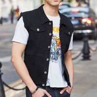 bolsillos de chaleco para hombre al por mayor-Mens Chaleco Nueva Moda de Verano Venta Caliente Slim Fit Sin Mangas Chalecos de Mezclilla Biker Casual Bolsillos de Un Solo Pecho Abrigo hombres