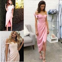 Wholesale backless lace wedding dress tea for sale - 2018 Country Pink Bridesmaid Dresses Off The Shoulder Pleats Ruched Bow Split Tea Length Sweetheart Satin Maid of Honor Wedding Guest Gowns