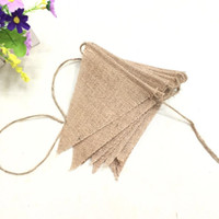 Wholesale jute string wholesale - Natural Jute Pull Flags Vintage DIY Triangle Shape String Banner For Wedding Home Party Decorations Pennants Creative 5 5dl B