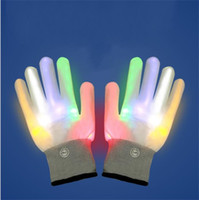 Wholesale led bars for sale - Fashion LED Flashing Gloves Colorful Halloween Christmas Hot Sale Glowing Optical Fiber Glove Toy For Bar KTV Cheer Props 12 5ls YY
