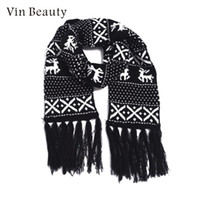 ingrosso sciarpe di lana lavorate a maglia-Red The Wool Christmas Scarf The Scarf Contracted Christmas Printing Moda Knited Young Wrap