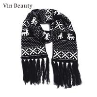 lenços de lã de lã venda por atacado-Vermelho A Lã Natal Cachecol O Cachecol Contratado Natal Impressão Moda Tricotado Jovem Envoltório