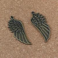 ingrosso collana di bronzo angelo delle ali-Ali d'angelo Pendenti Charms 50 Pz / lotto 22x56mm Bronzo Antico lega ewelry FAI DA TE Fit Bracciali Collana Orecchini A-306