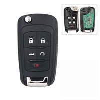 araba anahtar yemi chevrolet toptan satış-Araba 5 Düğme Anahtarsız giriş Uzaktan Anahtar Fob için Chevrolet 433 MHz ID46 Çip Ile HU100