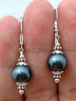 Wholesale south sea dangle pearl earrings - 12mm Tahitian Black Peacock Sea Shell Pearl Sterling Silver Leverback Earrings