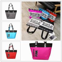 Wholesale nylon shoulder shopping bag - 9 Colors Pink Letter Handbags Women Shoulder Bags Love Pink Waterproof Shopping Bag Handbag Secret Travel Duffle Bags CCA8953 12pcs
