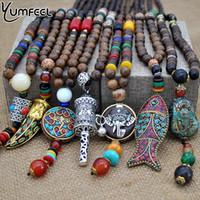 Wholesale nepal beads - whole saleYumfeel Handmade Nepal Jewelry Buddhist Mala Wood Beads Pendant Necklace Ethnic Horn Fish Long Statement Necklace For Women Men