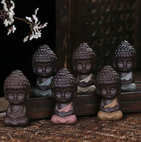 Wholesale wholesale ceramic figurines - Ceramic Tea Pet Little Monk Figurine Buddha Statues Yoga Tea Ceramic Craft Ornament Home Decor EEA445 30pcs
