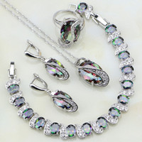 Wholesale white jade earrings 925 silver - whole saleMystic Rainbow Cubic Zirconia White CZ 925 Sterling Silver Jewelry Sets For Women Party Necklace Earrings Pendant Ring Bracelet