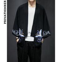 moda kimono negro al por mayor-Sinicism Store Mens Trench Coat Jacket Estilo chino Windbreaker Long Black Jacket Kimono de lino de moda para hombres 2018